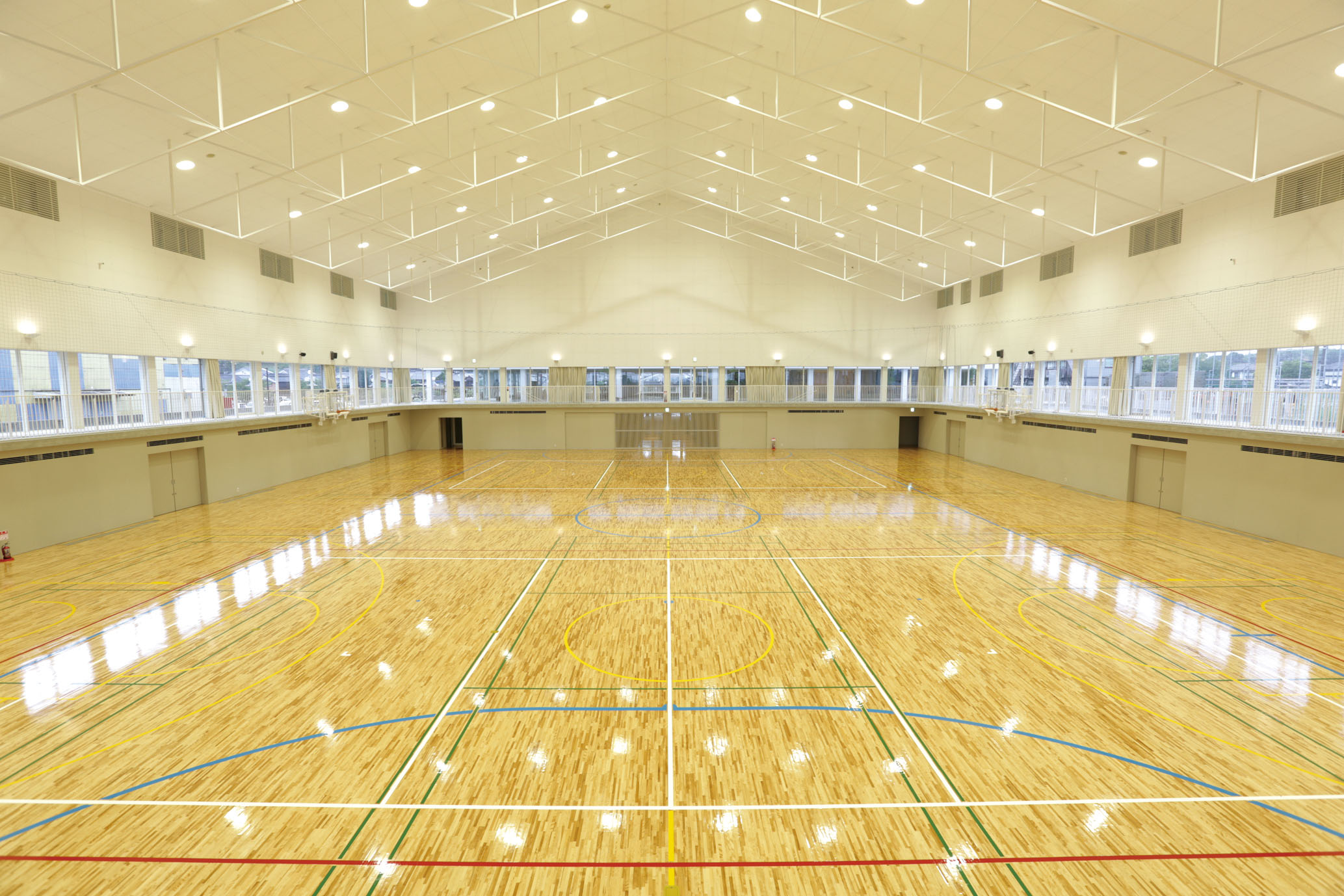 Ureshino city social cultural center liberty saga Indoor basketball court ceiling height